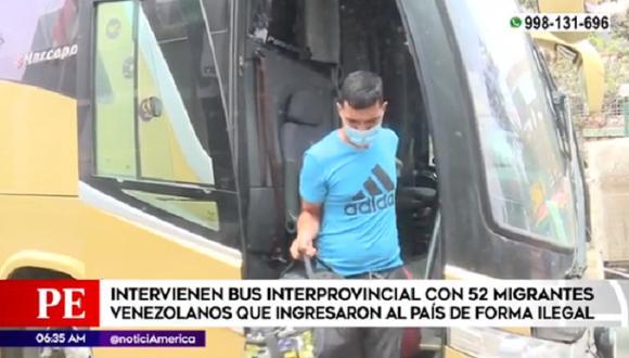 La Policía Nacional intervino, en la garita de control de Ancón, un bus que transportaba a 52 venezolanos que ingresaron de manera ilegal al Perú.
