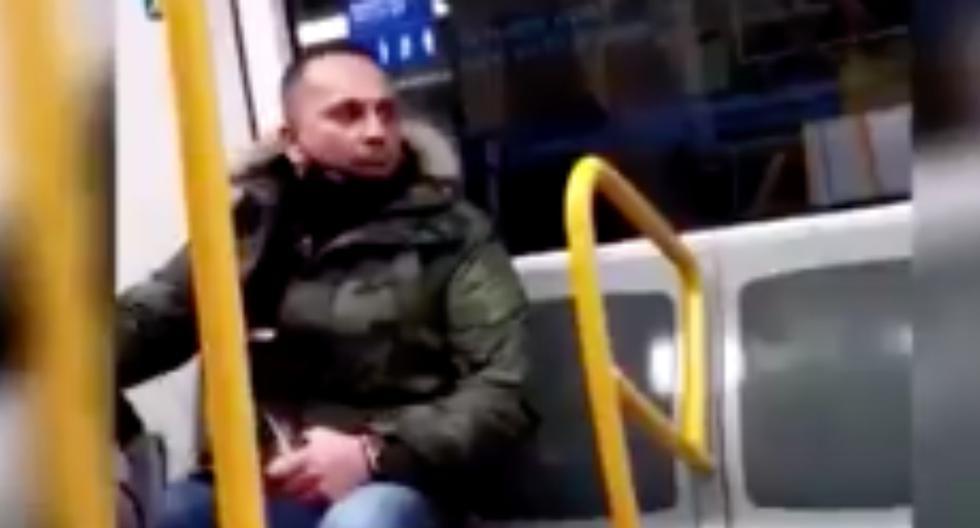La policía identificó el viernes pasado al hombre, que acumula diez detenciones por motivos como delitos contra la salud pública y malos tratos. Imagen del episodio en el Metro de Madrid, España. (Captura de video/Twitter).