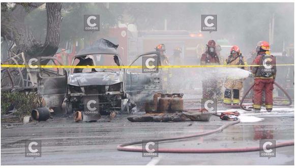 San Isidro: incendio de furgoneta con balones de gas deja 12 heridos