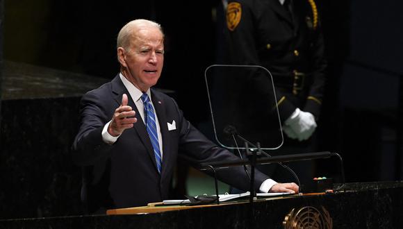 El presidente de los Estados Unidos, Joe Biden, habla en la Asamblea General de la ONU el 21 de septiembre de 2021 en Nueva York. (Foto: TIMOTHY A. CLARY / POOL / AFP)