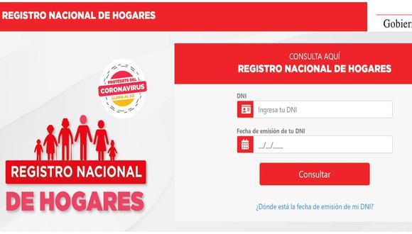 Accede a la plataforma Registro Nacional de Hogares para ser beneficiario del Bono Familiar Universal.