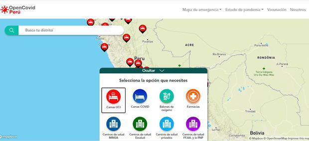 Open-Covid Perú lanza mapa interactivo.