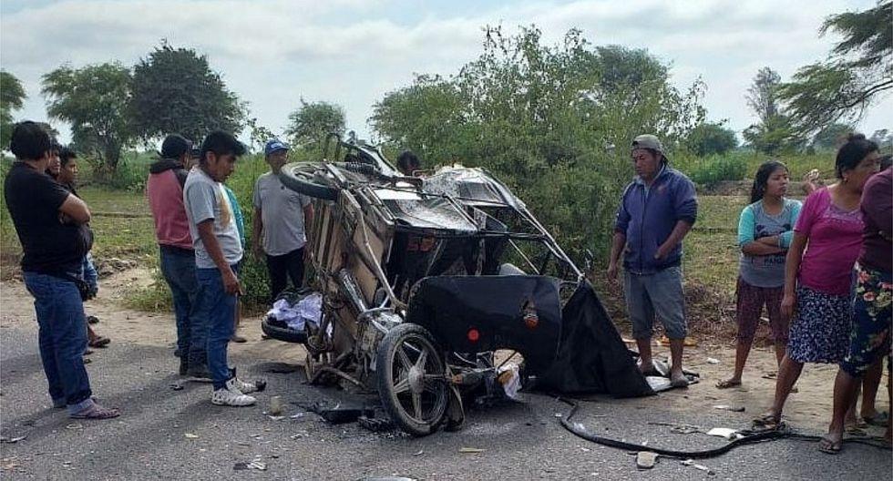 Cuatro heridos en choque entre un camión y una mototaxi