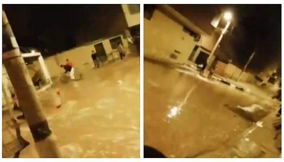 Rotura de tubería de agua provocó aniego en San Juan de Miraflores (VIDEO)