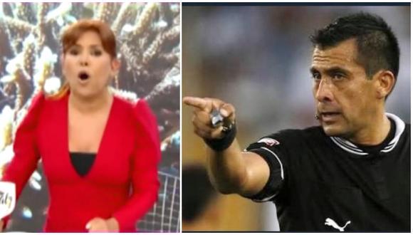 Magaly Medina y su grito contra árbitro de Perú vs Brasil. (Foto: Captura ATV)