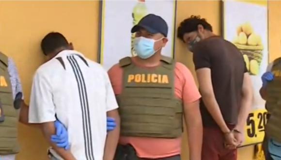 Delincuentes de nacionalidad venezolana capturados por la Policía en Los Olivos.   Foto: Canal N.