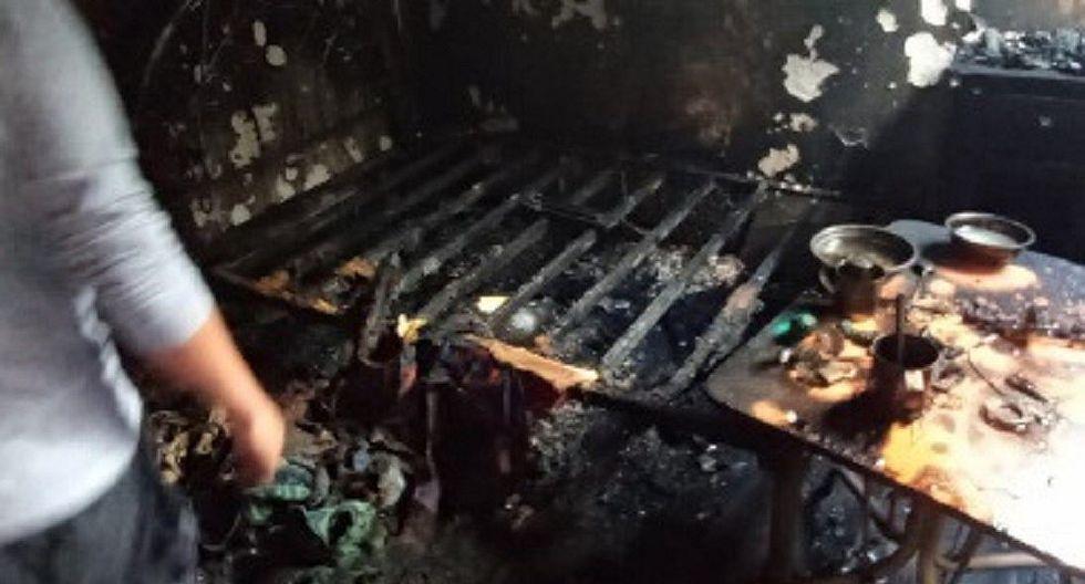 Voraz incendio en Quichuas deja a dos sin techo para vivir