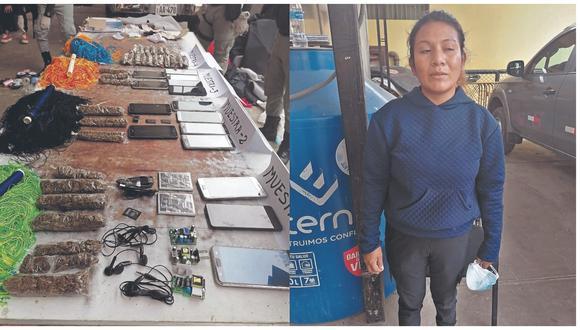 Agentes del INPE la sorprendieron cuando pretendía ingresar 15 equipos móviles al establecimiento penitenciario.