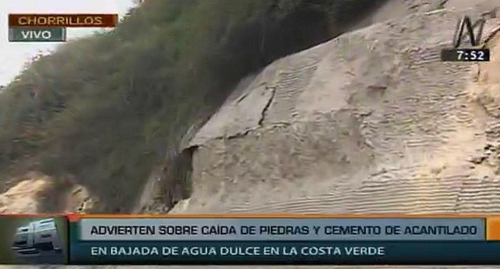 Chorrillos: Advierten sobre caída de piedras del acantilado en la Costa Verde