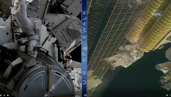 Esta captura de TV de la NASA muestra al astronauta estadounidense Shane Kimbrough (izq.) y al astronauta de la ESA (Agencia Espacial Europea) Thomas Pesquet (der.) realizando los trabajos de mejoras en la Estación Espacial Internacional. (Cortesía / NASA TV / AFP)