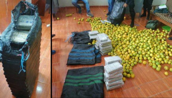 Sacos con naranjas iban cargados con más de 41 kilos de marihuana. (Foto: PNP)