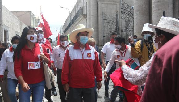 Pedro Castillo en su primera llega a Arequipa, durante la primera vuelta. Fotos: Eduardo Barreda.