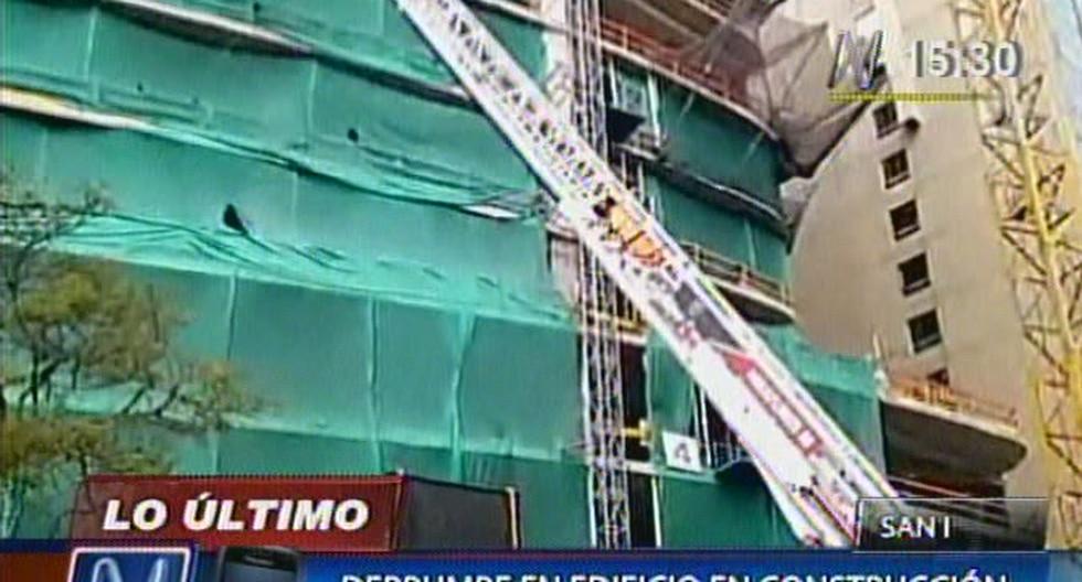 Derrumbe en edificio en construcción deja dos obreros heridos en San Isidro