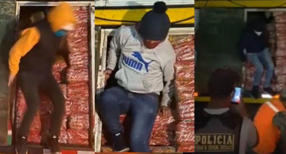 Seis sujetos se esconden en camiones para ingresar a la región de Cajamarca. (Foto: captura de pantalla)