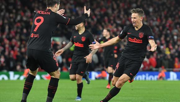 Atlético de Madrid eliminó al actual campeón de la Champions League Liverpool, al vencerlos 3-2 en Anfield (Foto: AFP)