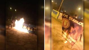 Barra brava de Universitario de Deportes quema pintas de hinchas de Sporting Cristal