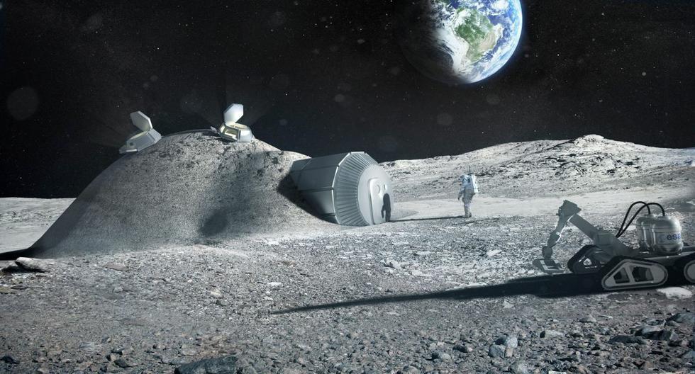 Una imagen referencial muestra la impresión de un artista de una posible base lunar, el 17 de octubre de 2016. (EFE/EPA/ESA).