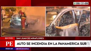 Conductor fue rescatado tras incendiarse su vehículo en la Panamericana Sur