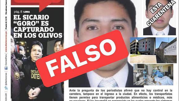 Inescrupulosos falsifican portada de Correo Ayacucho