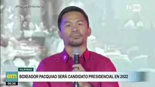 """Manny Pacquiao anuncia su candidatura a la presidencia de Filipinas y promete crear """"mega prisión"""" para corruptos"""