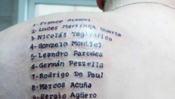 Fanático argentino se tatuó los nombres de los campeones de la Copa América. (Foto: Instagram)