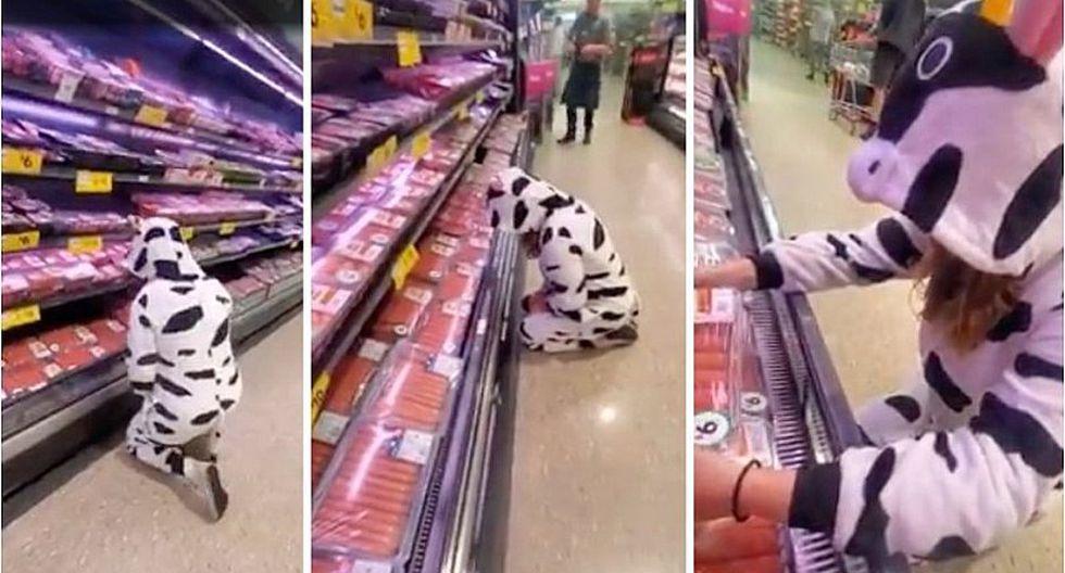 Protestante vegana se disfrazó de vaca y rompió en llanto en la sección de carnes en un supermercado