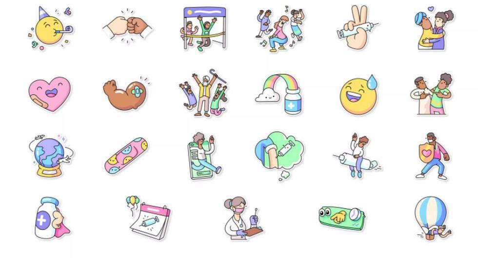 """El paquete de nuevas """"pegatinas"""" que ha incluido WhatsApp lleva el nombre de """"Vaccines for All"""". (Captura de pantalla/WhatsApp)."""