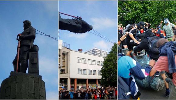 Chile: manifestantes derriban estatua de Pedro Valdivia en Concepción (VIDEO)