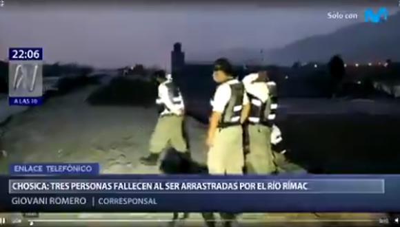 La Policía solo pudo rescatar dos de los tres cuerpos. (Captura: Canal N)