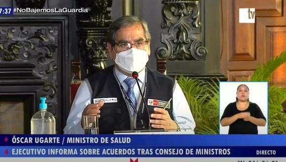 Óscar Ugarte, ministro de Salud, indicó que la vacunación con las dosis de Pfizer se iniciará en Lima. (Foto: Captura TV Perú)