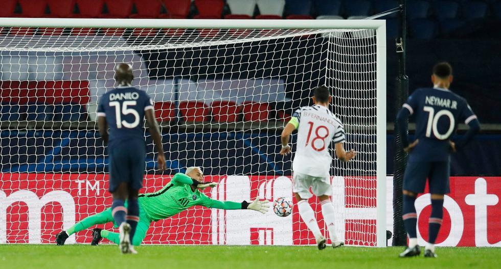 PSG vs. Manchester United: gol de penal de Bruno Fernandes tras atajada anulada a Keylor Navas (VIDEO)