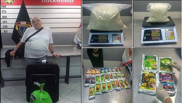 PNP: Esta abuelita quería trasladar cocaína a España
