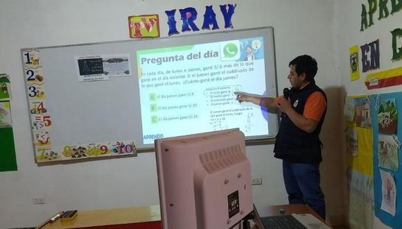 Acondicionaron un espacio en la municipalidad de Iray donde dan las clases. (Foto: Cortesía Ugel Condesuyos)