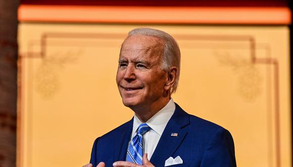 El presidente electo de los Estados Unidos, Joe Biden, pronuncia un discurso de Acción de Gracias en el Queen Theatre en Wilmington, Delaware, el pasado 25 de noviembre de 2020. (CHANDAN KHANNA / AFP)