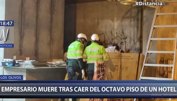 Jorge Tello Villalobos llegó al hotel situado entre las avenidas Las Palmeras y Naranjal para realizar inspecciones en sus instalaciones y subió a uno de los pisos. A los pocos minutos ocurrió su caída. (Foto: Captura Canal N)