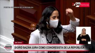 """Sigrid Bazán juró como congresista de la república: """"Por un Perú sin discriminación"""" (VIDEO)"""