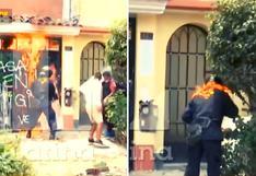 Surco: Policía termina en llamas tras desalojo de viviendas