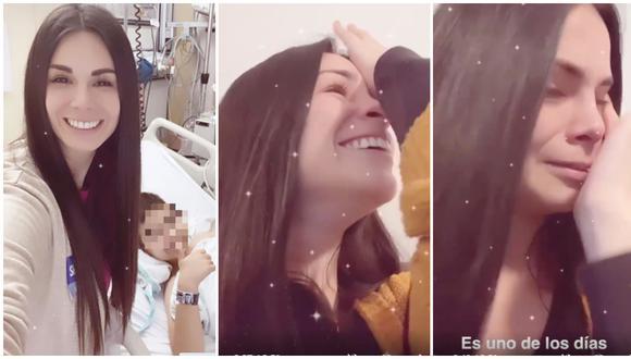 Sully Sáenz llora de emoción al comprobar que su hijo volvió a escuchar con implante. (Fotos: Instagram)