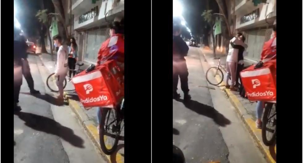 Le roban la bicicleta a repartidor de delivery, pero quien hizo el pedido le regala la suya (VIDEO)