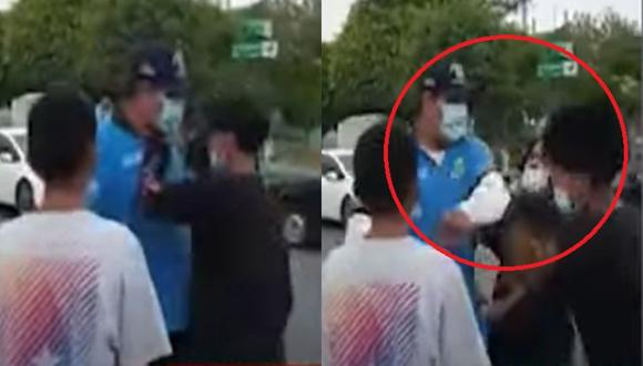 Un video muestra que sereno de Carmen de la Legua propina una cachetada a un joven en la calle. (Captura: Buenos Días Perú)
