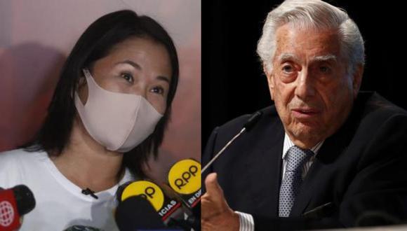 Mario Vargas Llosa afirmó que Keiko Fujimori tiene la posibilidad de ganar las Elecciones Generales en Perú 2021.   Foto: Composición.