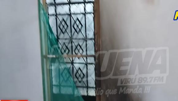 Delincuentes lanzaron una bomba molotov contra la fachada del inmueble del asesor de la consejera Mirtha Higa. (Foto: Captura Radio ke Buena Virú)