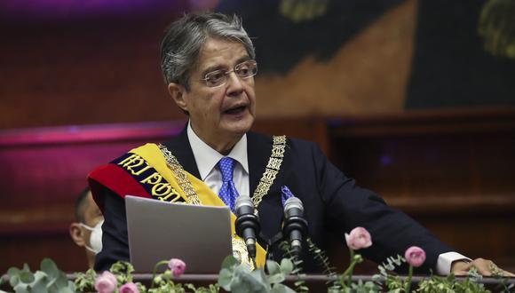 El presidente de Ecuador, Guillermo Lasso, pronuncia un discurso durante su toma de posesión en la Asamblea Nacional en Quito, el 24 de mayo de 2021. (Foto:  Ecuador's National Assembly / AFP)