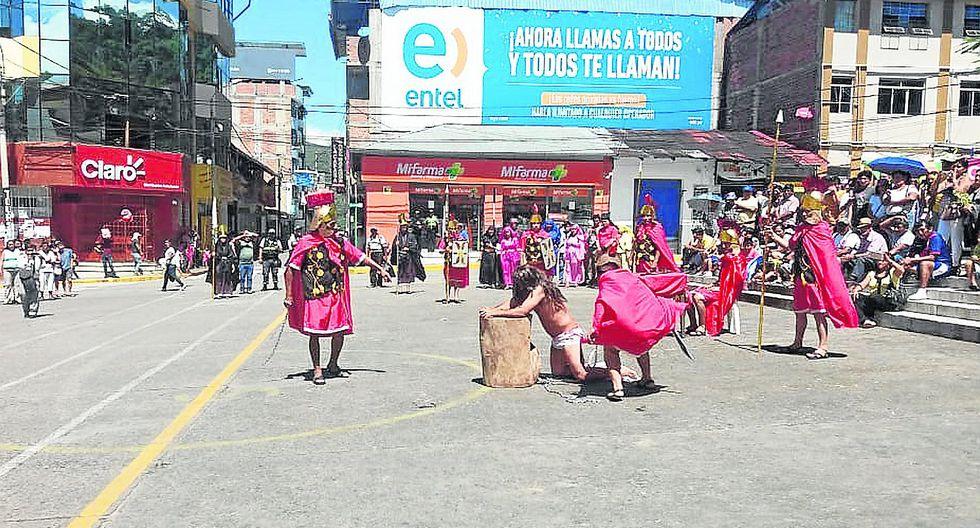 En La Merced y Tarma fieles inician Semana Santa con escenificaciones y misa