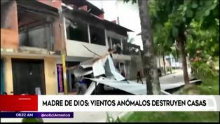 Mujer salvó de morir luego de que vidrios del obelisco de Madre de Dios le cayeran por fuertes vientos