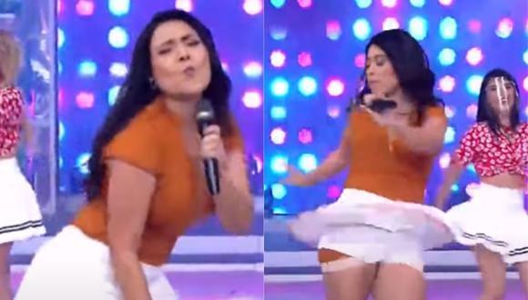 Tula Rodríguez sufrió incidente con su falda. (Foto: Captura América TV)