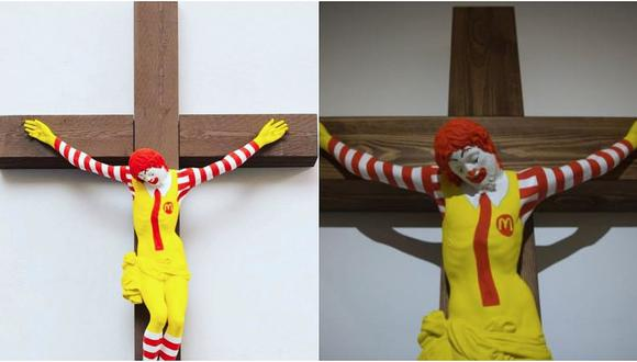 Estatua del payaso de McDonald's crucificado crea polémica en Israel (VIDEO y FOTOS)