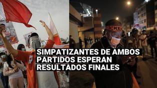 Simpatizantes de Pedro Castillo y Keiko Fujimori esperan resultados finales de la ONPE