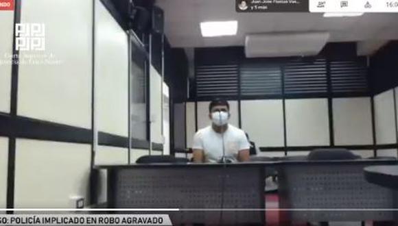 El efectivo policial Luis Alberto Oriundo Gonzales trabajaba en la comisaría de San Cayetano. (Captura de video: Poder Judicial)