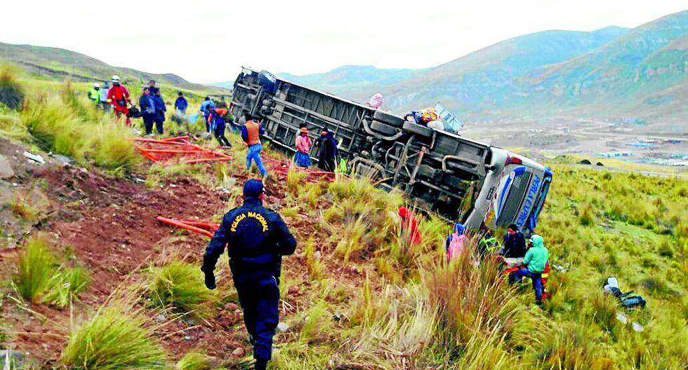 Carretera Central: por falla en el freno, bus se despista y 53 quedan heridos